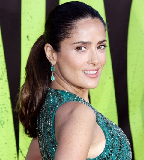 Salma Hayek Hairstyles: Cheerful Ponytail