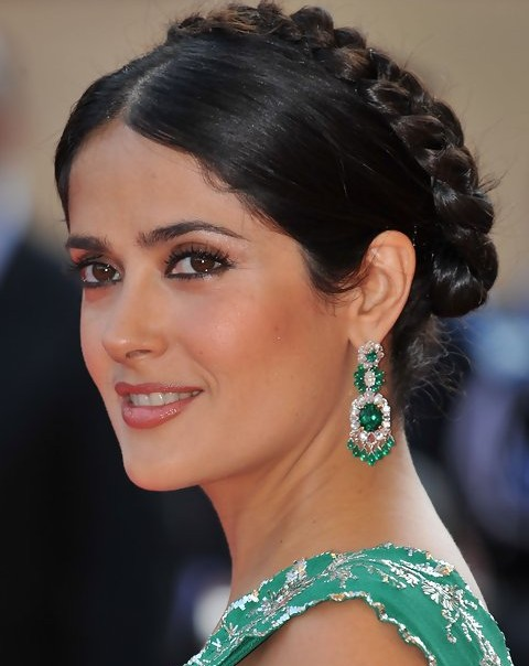 Salma Hayek Hairstyles: Elegant Braided Bun - Pretty Designs