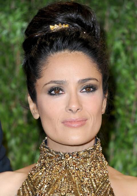Salma Hayek Hairstyles: Elegant Classic Bun