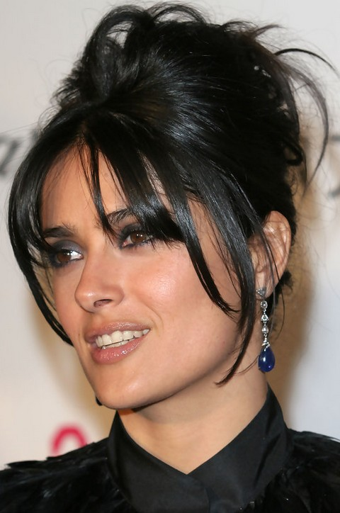 Salma Hayek Hairstyles: Fun French Twist