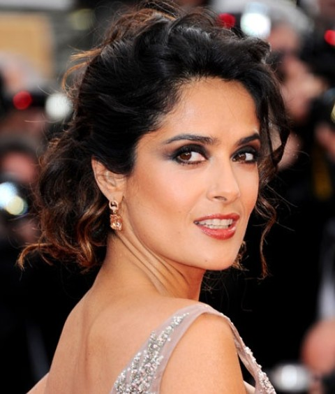 Salma Hayek Hairstyles: Gorgeous Bobby Pinned Updo