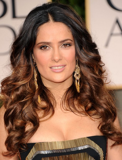 Salma Hayek Hairstyles: Ombre Long Curls