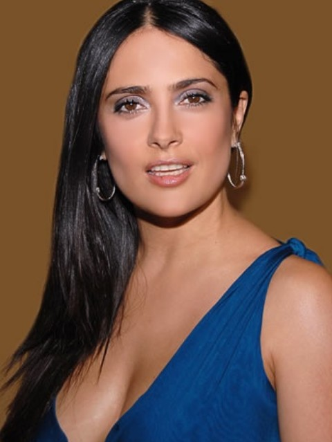 Salma Hayek Hairstyles: Side-swept Straight Haircut