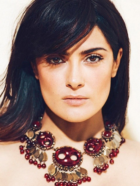 Salma Hayek Hairstyles: Straight Haircut with Bangs