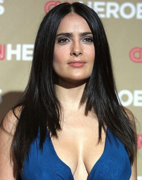 Salma Hayek Hairstyles: Straight Layered Haircut