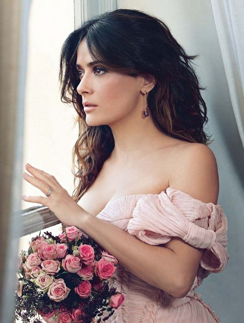 Salma Hayek Hairstyles: Tousled Wedding Hairstyle