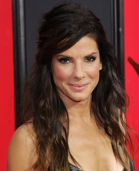 Sandra Bullock Long Hairstyle: Half Up Half Down for Curly Hair