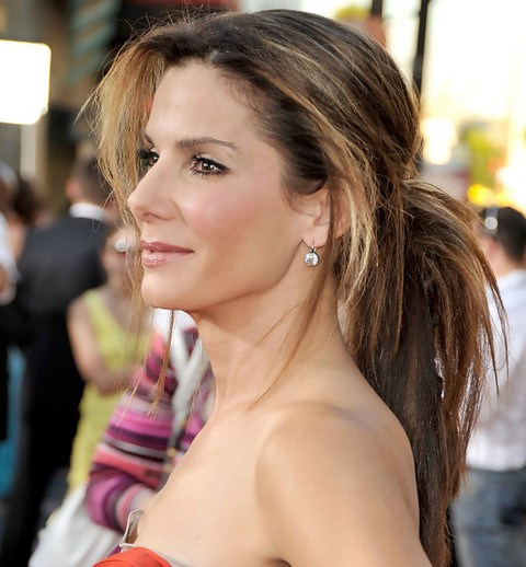 Sandra Bullock Long Hairstyle Ponytail For Two Tone Hair