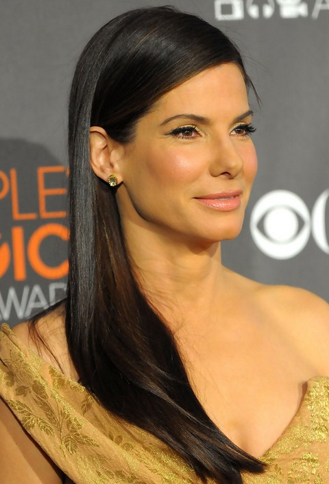 Sandra Bullock Long Hairstyle Side Sweep Pretty Designs