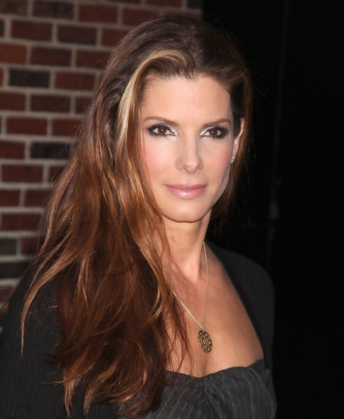Sandra Bullock Long Hairstyle: Subtle Waves for Highlighted Hair