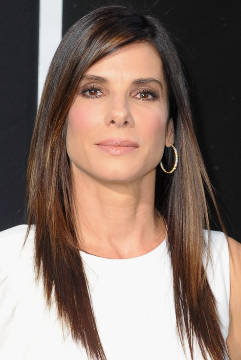 Sandra Bullock Long Hairstyles: 2014 Layered Haircut