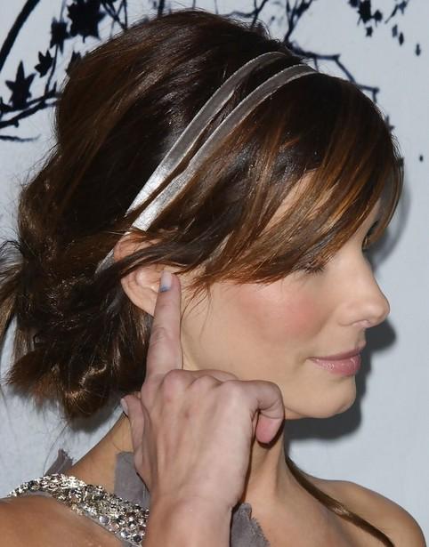 Sandra Bullock Updo: Side Swept Bangs