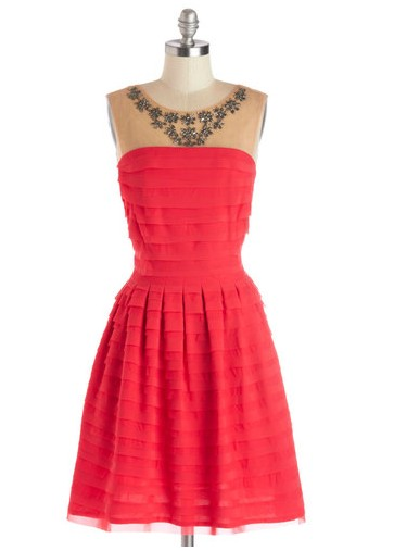 Sangria Soiree Strapless Layered Dress, Bright Pink