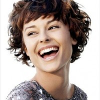 Short Curly Hairstyle with Full Fringe for Brunette Hair