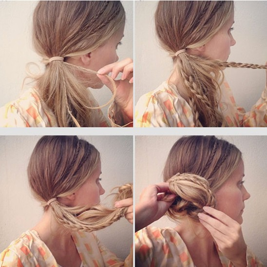 Side Chignon Tutorials: Micro Braids Updos For Girls