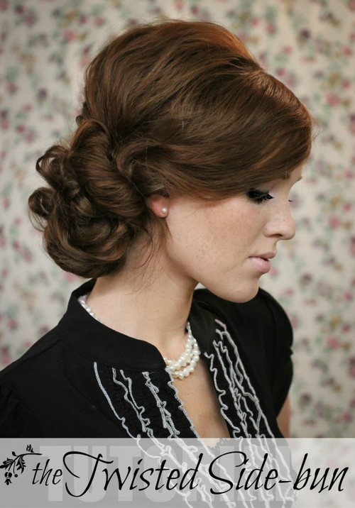Side Chignon Tutorials: Twisted Updo Hairstyle for Holiday