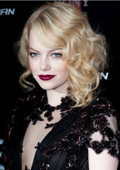 female shaved hairstyles : Deep Parted Faux Bob Hairstyle for Mid-length Curly Wavy Blond Hair