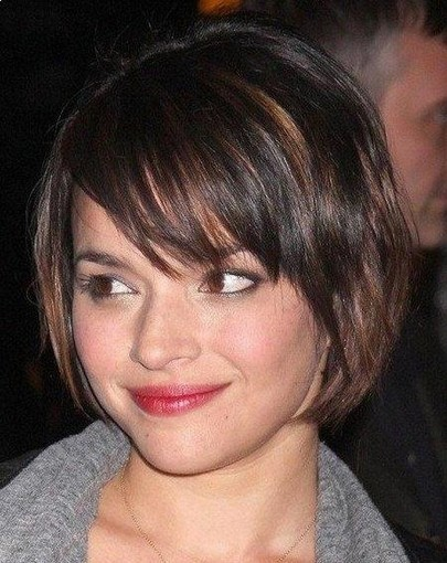 Side Swept Bangs Bob Haircut For Mid Lenth Ombre Hair