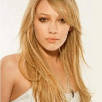 Side Swept Bangs for Long Straight Blond Hair