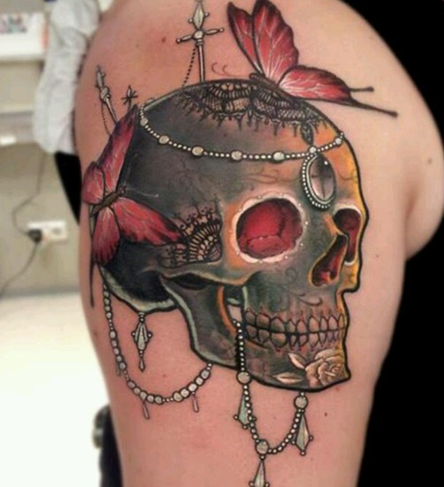 Skull Tattoo on Upper Arm