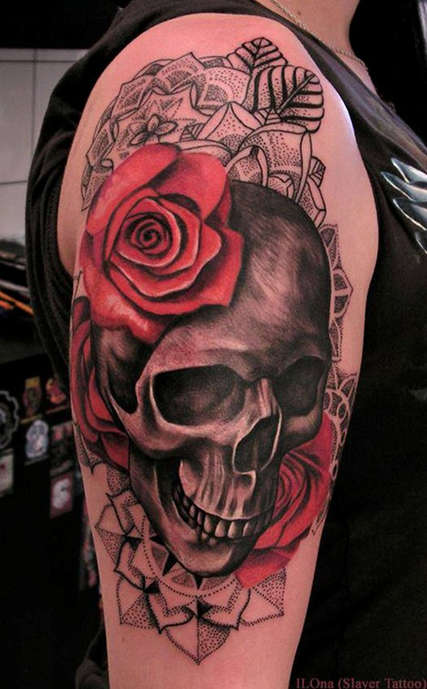 Skull and Roses Tattoo on Upper Arm