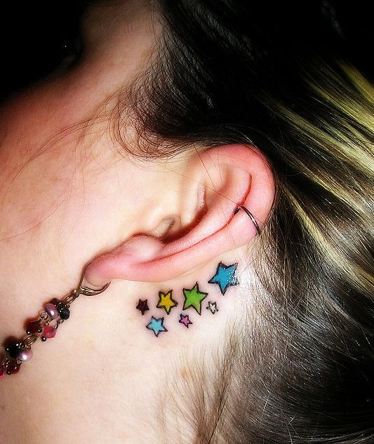 Star tattoos designs for girls: Behind the ear tattoos ideas