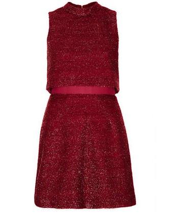 TOPSHOP 60's Fluff Crop Dress, Red,High Neck