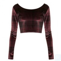 TOPSHOP Long Sleeve Check Velvet Crop Top