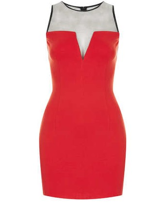 TOPSHOP Jersey Bodycon Dress by WYLDR, RED