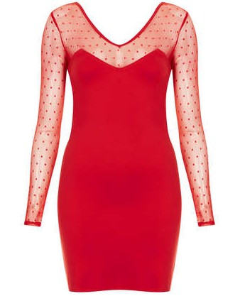 TOPSHOP MESH BODYCON DRESS BY WYLDR, Red