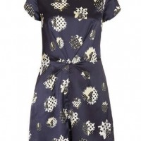 TOPSHOP Polka Daisy Playsuit, Navy Blue