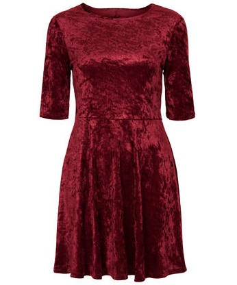 TOPSHOP VELVET CUT OUT SKATER DRESS, Wine, Fit and Flare