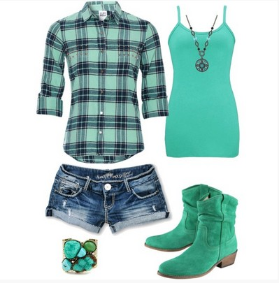 Teal Plaid Outfit, teal plaid shirt, hot shorts and boots