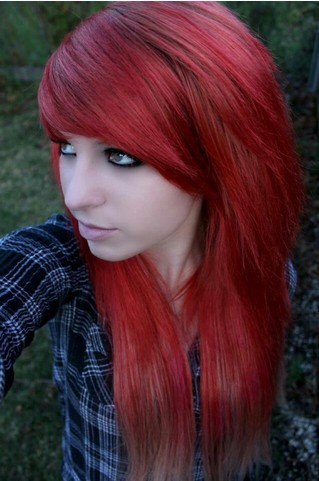 The Bloody Red Colored Emo Hairstyle with Long Side Bangs