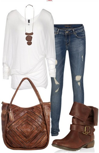 The Casual Outfit Look, Loose White Knit Top, Jeans and Vintage Brown Boots