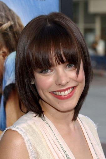 The Chic Bob Hairstyle Blunt Haircut Bangs for Brunette Hair