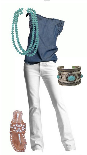 The Cool Denim Blouse and White Jeans for Spring 2014 Outfit Ideas