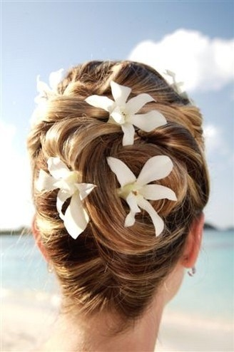 The Elegant Updo Ombre Hair for Beach Bridal Hairstyles