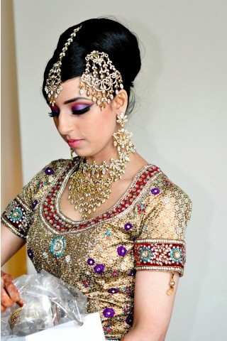 The Elegant Updo with Diamond Accessories For Indian Wedding Hairstyle