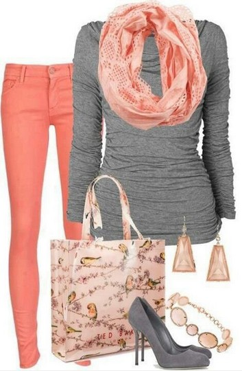 The Fabulous Coral Outfit Look, Grey Knit Top, Coral Colored Skinnies and Grey Pumps