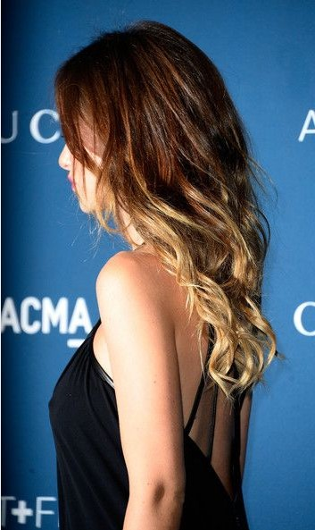 The Fantastic Long Curly Wavy Ombre Hairstyle with Long Side Bangs