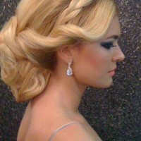 The Gorgeous Low Updo Wedding Hair with a Braid and Finger Waves