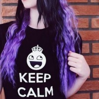 The Half Up Half Down Violet Colored Emo Hairstyle for Long Wavy Hair