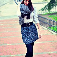 The Lovely Knitted Skirt and Button Flat Boots for Winter Outfit Ideas