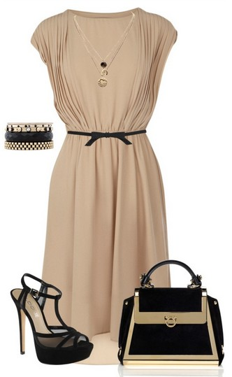 The Nude and Black Outfit Idea, Nude Evening Dress, Birkin Bag and Black Pumps