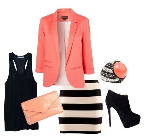 The Pink Suit, Striped Skirt and Ankle Boots for Spring 2014 Outfit Ideas