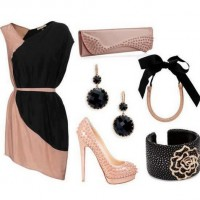 The Pink and Black Pannel Evening Dress
