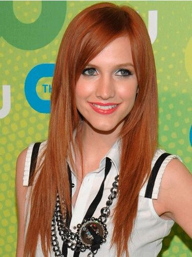 The Side Parted Straberry Blond Hairstyle for Long Straight Hair