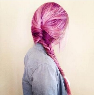The Simple Braided Ponytail for Long Pink Colored Hair