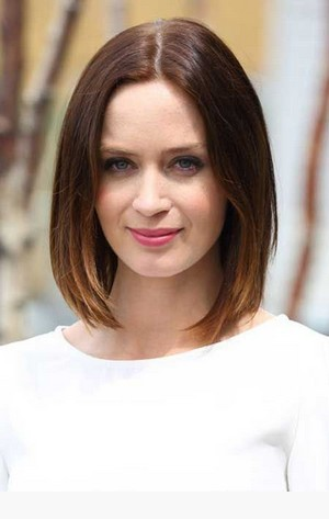 The Sleek Center Parted Lob Hairstyle with Blunt Cut for Ombre Brown Hair